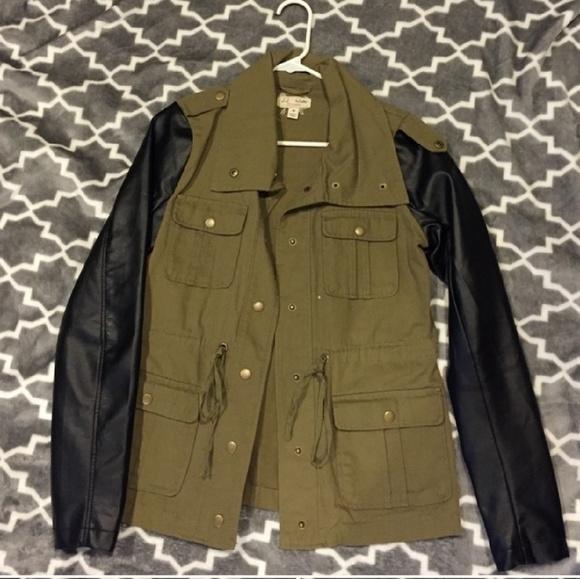 Jackets & Blazers - Green Khaki & Black Leather Army Fatigue Jacket